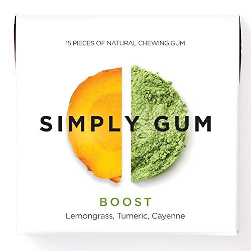 Simply Gum, Boost Chewing Gum, Vegan, Non GMO, 15 Pieces, Pack of 6