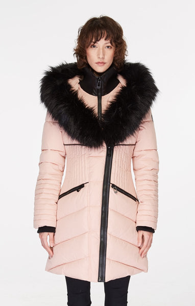 Gigi Long Jacket with Colored Fur