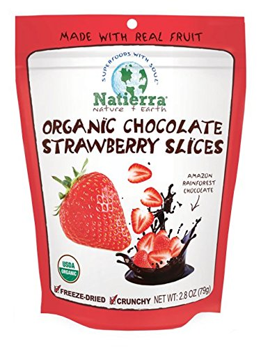 Natierra Nature's All Foods Organic Freeze-Dried Snacks, Chocolate Covered Strawberry Slices, 2.8 Ounce