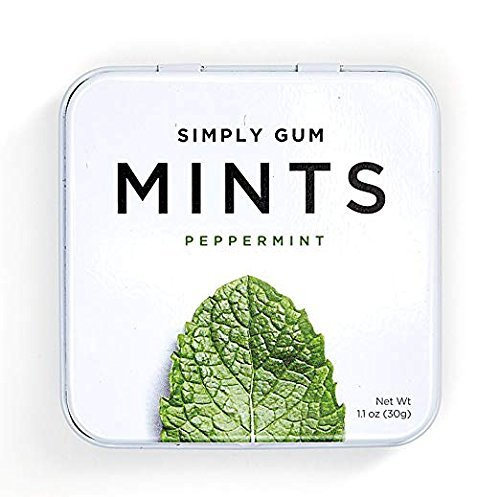 Breath Mints by Simply Gum, Peppermint, Vegan, Non GMO, 45 Pieces, Pack of 6