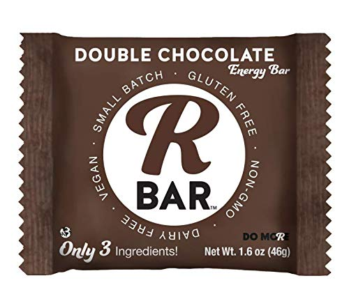 RBar Whole Food Double Chocolate Energy Bar - Dairy & Gluten Free Snacks, Vegan Protein Bar - 3 Healthy Ingredients (10 Pack)