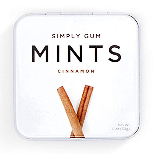 Breath Mints by Simply Gum, Cinnamon, Vegan, Non GMO, 45 Pieces, Pack of 6