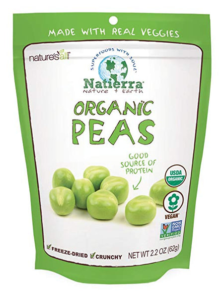 Natierra Nature's All Foods Organic Freeze-Dried Peas, 2.2 Ounce