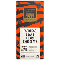 Tiger, Natural Dark Chocolate (72%) with Espresso Beans, 3-Ounce Bars (Pack of 12)