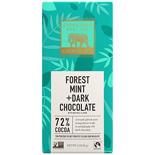 Rainforest, Natural Dark Chocolate (72%) with Forest Mint, 3-Ounce Bars (Pack of 12)