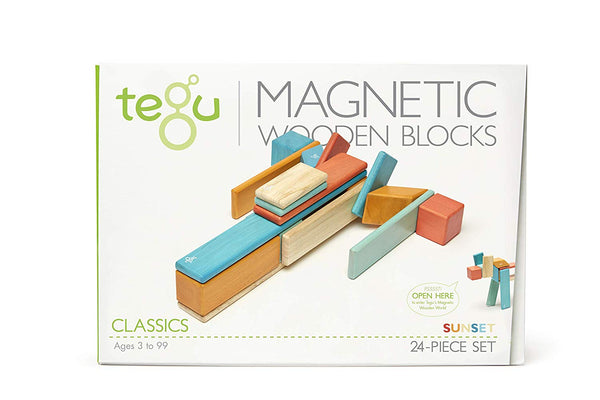 24 Piece Tegu Magnetic Wooden Block Set, Sunset