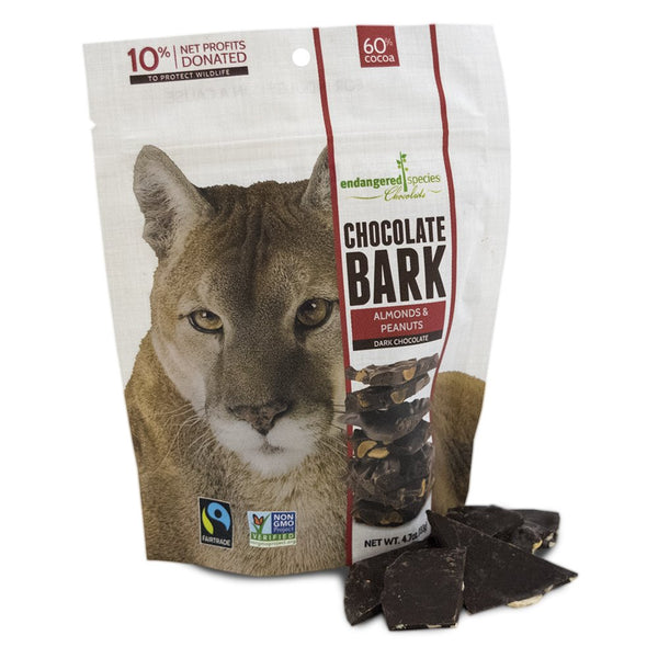 Endangered Species Bark Dark Chocolate, Peanuts & Almonds, 4.7 Ounce (Pack of 12)