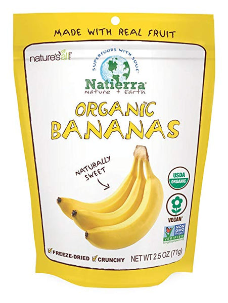 Natierra Nature's All Foods Organic Freeze-Dried Bananas, 2.5 Ounce