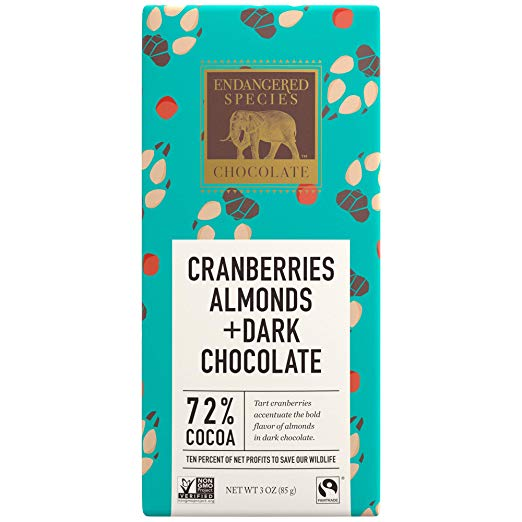 Wolf, Natural Dark Chocolate (72%) with Cranberries & Almonds, 3-Ounce Bars (Pack of 12)