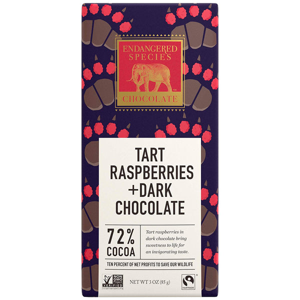 Grizzly, Natural Dark Chocolate (72%) with Raspberries, 3-Ounce Bars (Pack of 12)