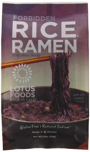 Lotus Foods Gourmet Forbidden Rice Ramen with Miso Soup, Lower Sodium, 10 Count