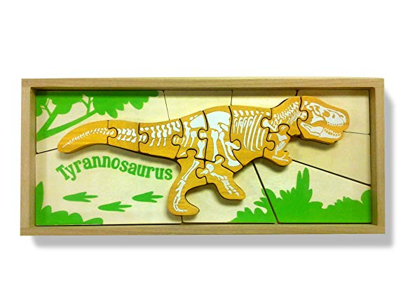 Dinosaur Skeleton Puzzles, Crafted from Sustainable Rubberwood