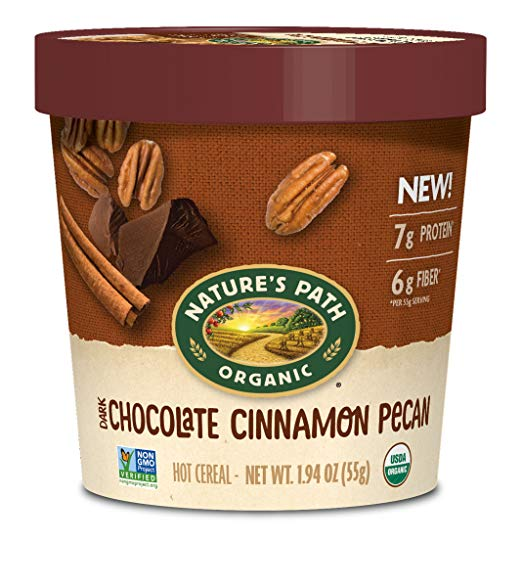 Organic Oatmeal Cup, Dark Chocolate/Cinnamon Pecan (Pack of 12)