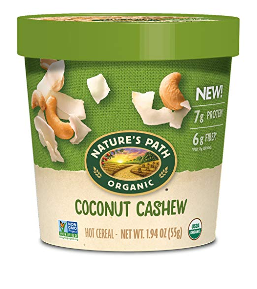 Organic Oatmeal Cup, Coconut Cashew (Pack of 12)
