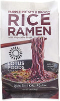 Lotus Foods Gourmet Purple Potato and Brown Rice Ramen with Vegetable Soup, Lower Sodium, 10 Count