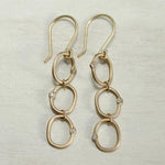 Triple Oval Bead-set Diamond Dangle Earrings