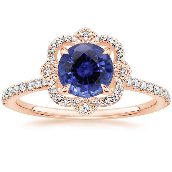 14K Rose Gold Sapphire Reina Diamond Ring