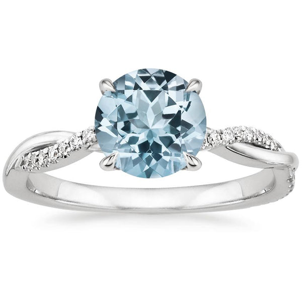 18K White Gold Aquamarine Petite Twisted Vine Diamond Ring
