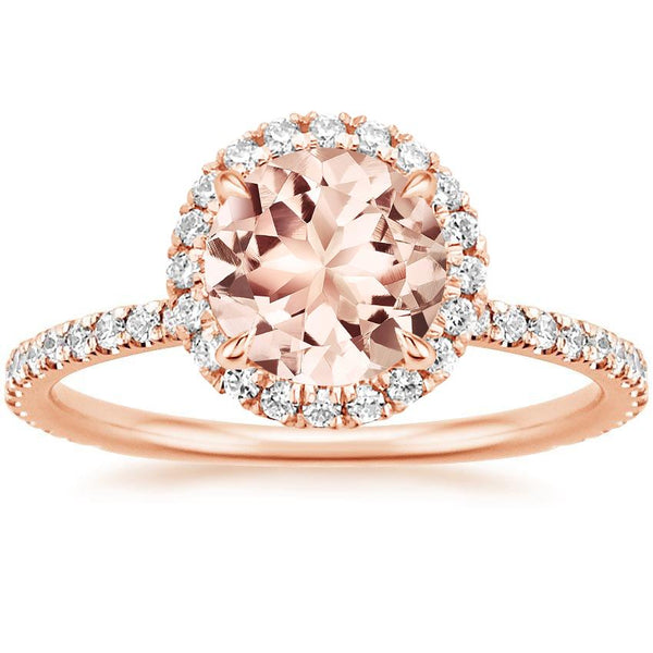 14K Rose Gold Morganite Waverly Diamond Ring (1/2 ct. tw.)