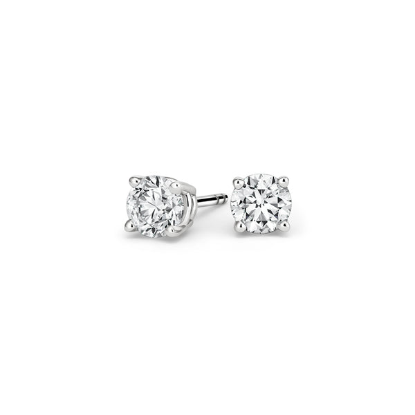 Platinum Round Diamond Stud Earrings (1/2 ct. tw.)