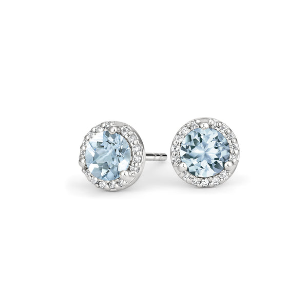 18K White Gold Aquamarine Halo Diamond Earrings