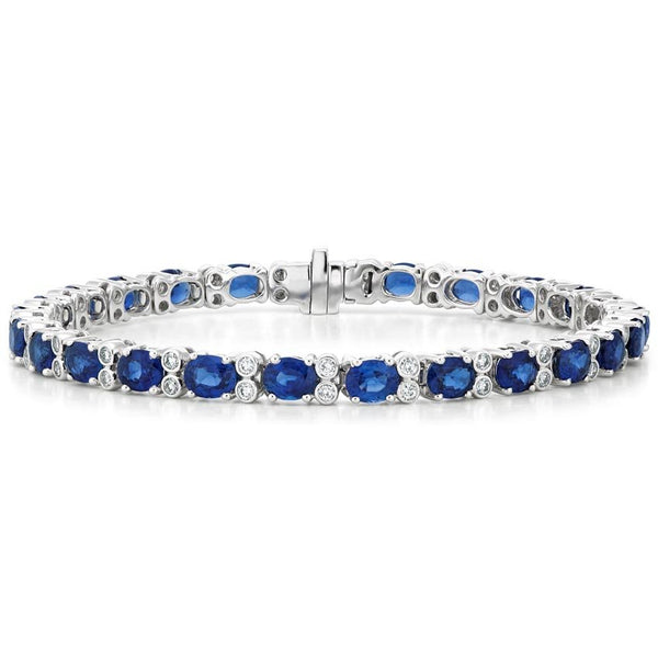 18K White Gold Luxe Azura Sapphire and Diamond Bracelet (7/8 ct. tw.)