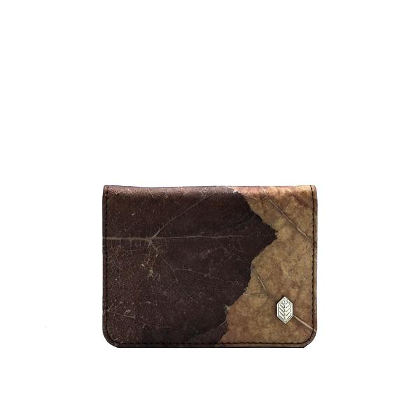 Bi-Fold Cardholder Wallet in Brown Leaf Leather