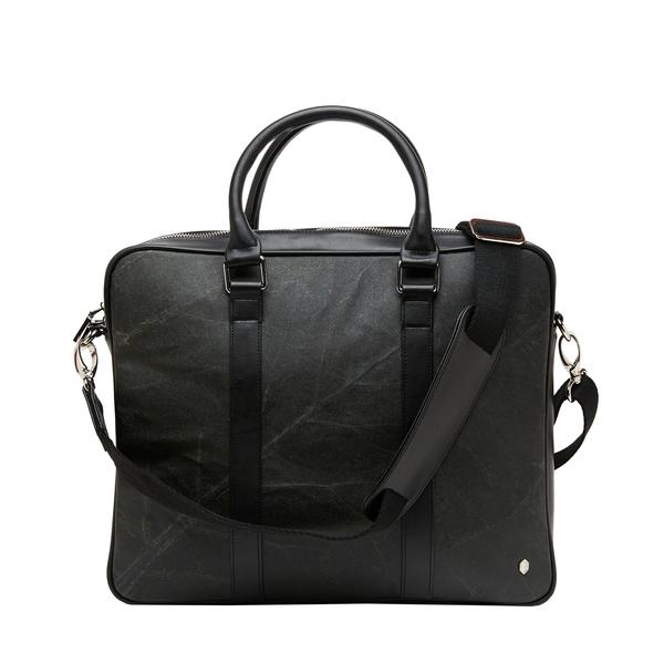 Cambridge Briefcase in Black Leaf Leather