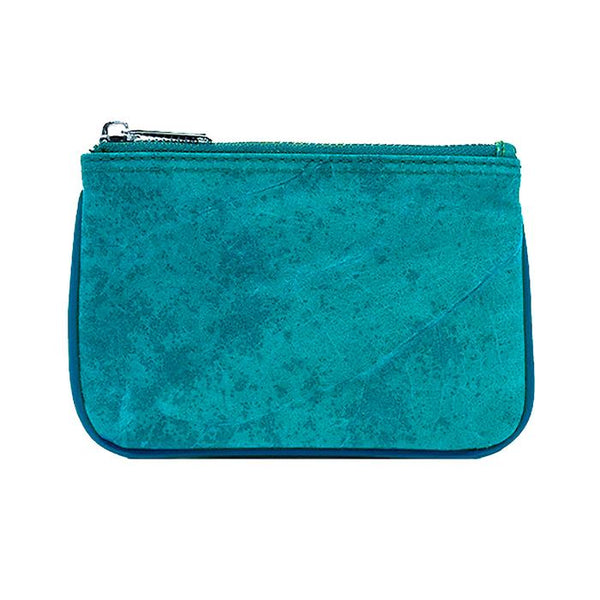 Zipper Coin Purse/Pouch in Turquoise Leaf Leather