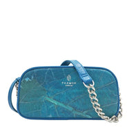 Chain Shoulder Bag in Turquoise Leaf Leather