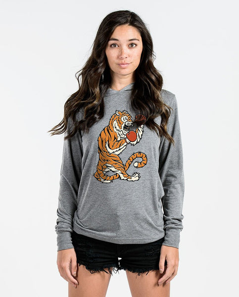 Fighting Tiger Unisex Grey Long Sleeve Hoodie