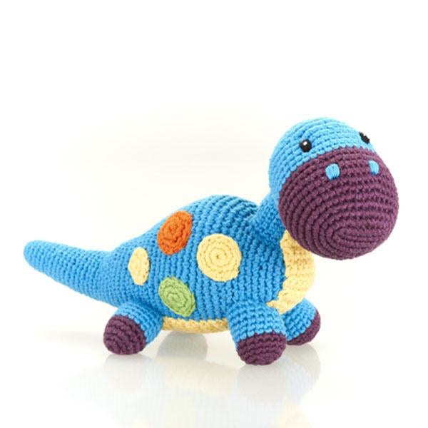 Blue Dino - Fair Trade Knitted Baby Rattle