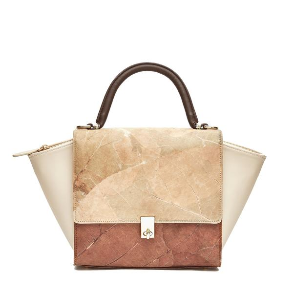 Emily Two Tone Bag in Brown and Natural Leaf Leather