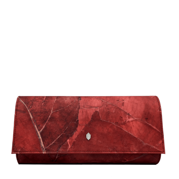 Evelyn Clutch in Red Leaf Leather