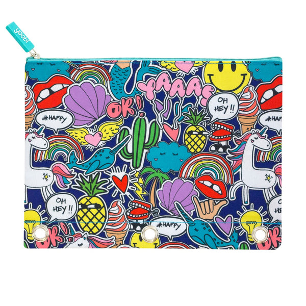 1-Zipper Binder Pencil Case Jumbo Doodle - Yoobi