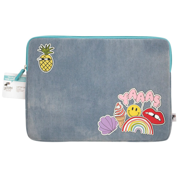 Denim Laptop Case with Patches