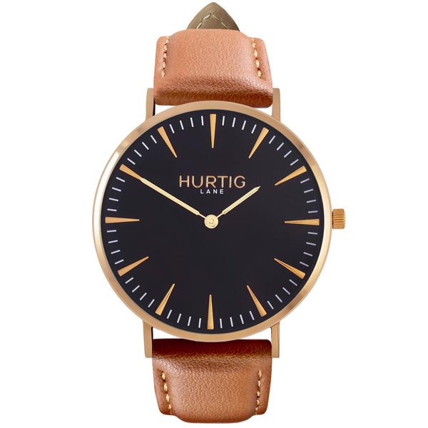Mykonos Vegan Watch Gold/Black/Tan