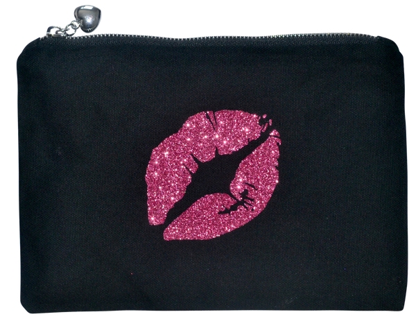 Pink Glitter Lips Makeup Canvas Bag