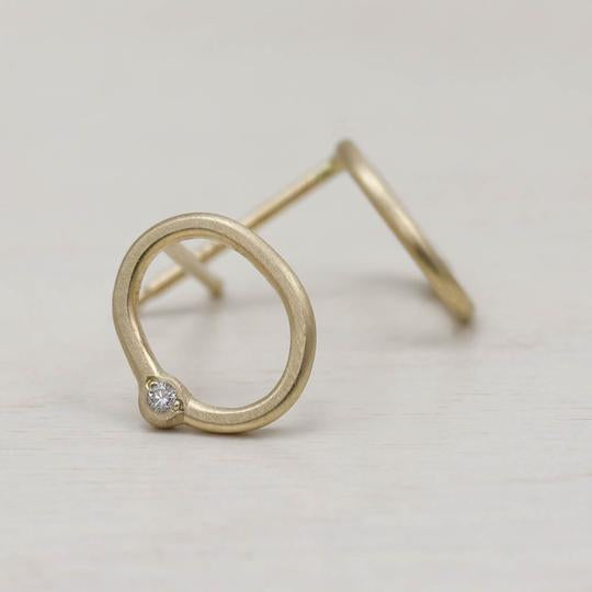 Oval Bead-set Diamond Stud Earrings
