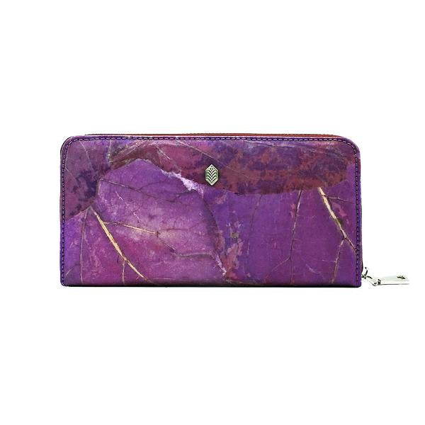 Zip Around Wallet in Purple Leaf Leather