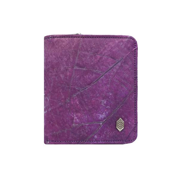 Compact Zip Around Wallet in Purple Leaf Leather