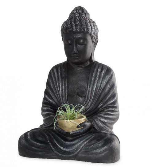 Meditating Buddha with Golden Offering Bowl
