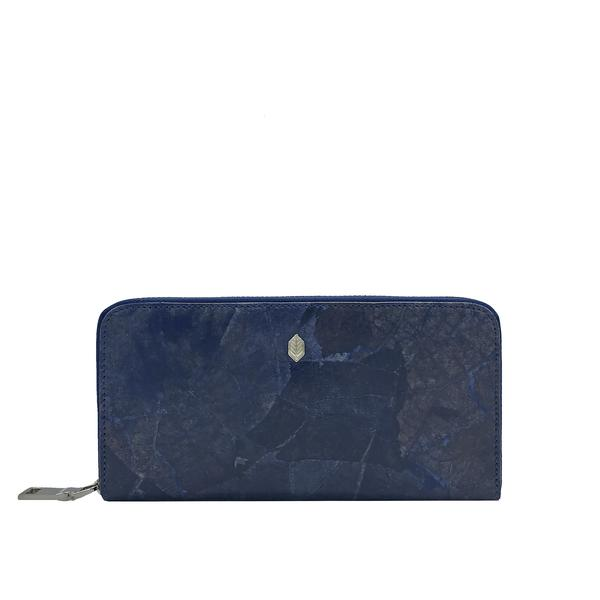 Zip Around Wallet in Dark Blue Leaf Leather