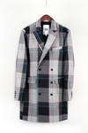 Double Breasted Overcoat - Blue Plaid