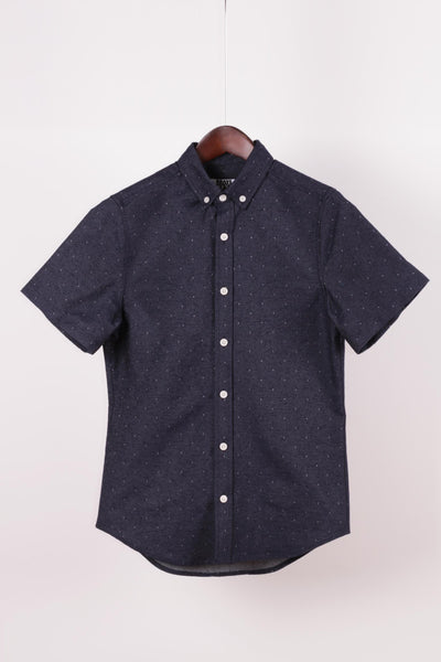 Pin Dot Short Sleeve Shirt, Recycled Denim