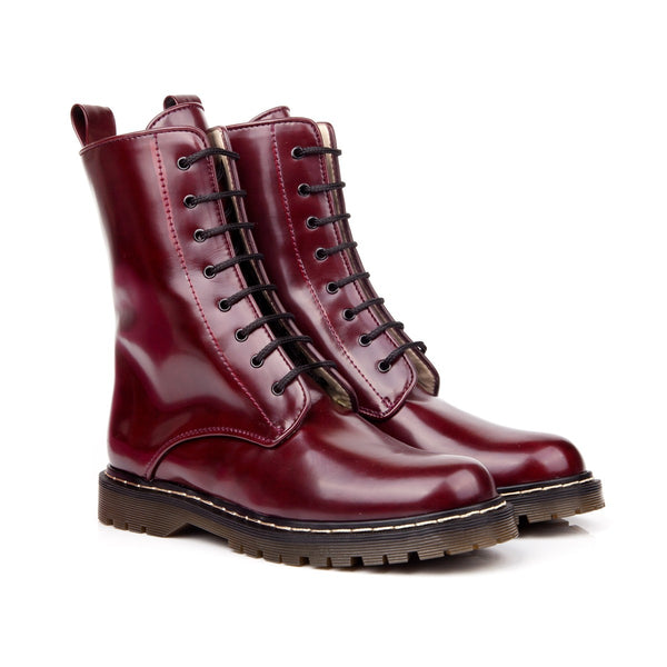 Frida Burgundy Lace Up Vegan Boots
