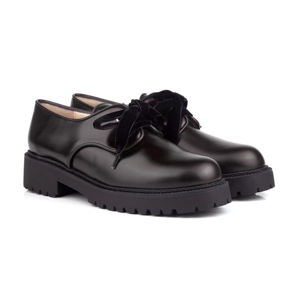 Martha Black Lace-Up Vegan Shoes