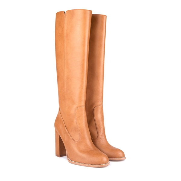 Medusa B Camel Block Heel Knee High Vegan Boots