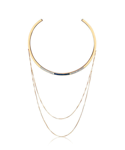Trio Drape Collar Necklace in Lapis & Marble