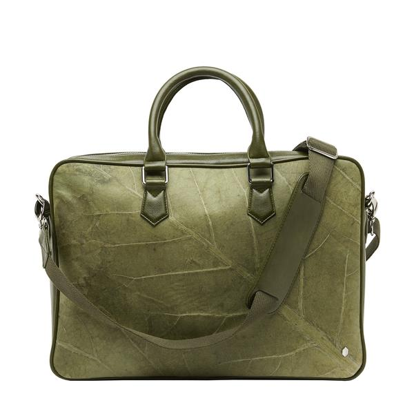 Oxford Briefcase in Green Leaf Leather